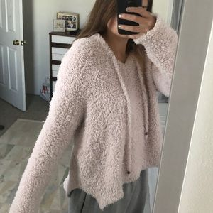 pink fuzzy hoodie